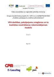 VPA darbības, pakalpojumu sniegšanas un to kvalitātes novērtēšanas