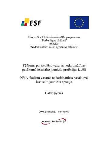 Pētījuma gala ziņojums - Nodarbinātības Valsts Aģentūra