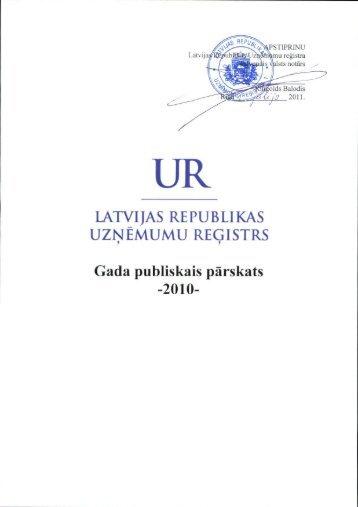 Gada publiskais pārskats 2010 - Uzņēmumu Reģistrs