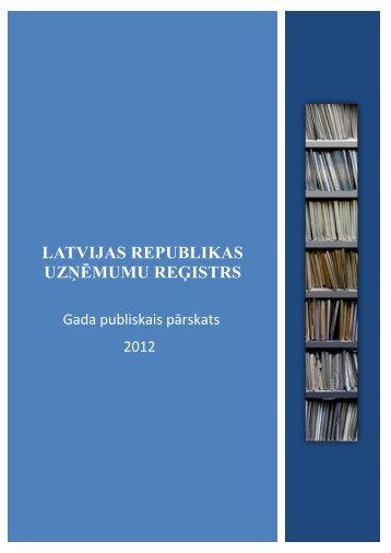 Uzņēmumu reģistra 2012. gada publiskais ... - Tieslietu ministrija
