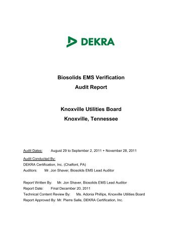 Biosolids EMS Audit Report