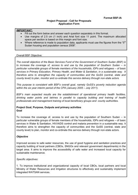 ZOA BSF-IA Proposal - Basic Services Fund SOUTH SUDAN