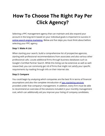 How To Choose The Right Pay Per Click Agency?