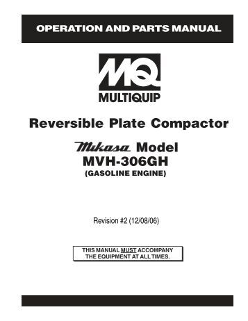 MVC-88GH Mikasa Brand Plate Compactors are recognized as