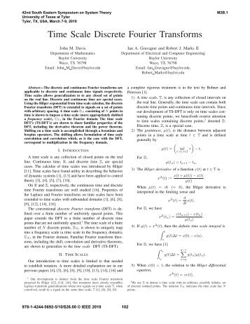 Time Scale Discrete Fourier Transforms - Robert Marks.org