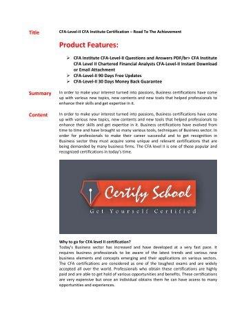 CFA-level-II Exam Questions & Answers