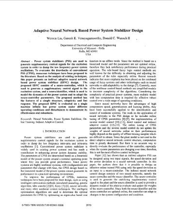 Adaptive neural network based power system ... - IEEE Xplore