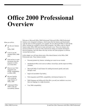 MS Office 2000 Professional Overview
