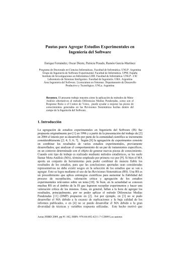 Pautas para Agregar Estudios Experimentales en Ingeniería del ...