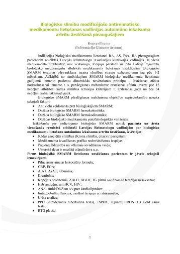 Bioloģisko slimību modificējošo antireimatisko medikamentu ...