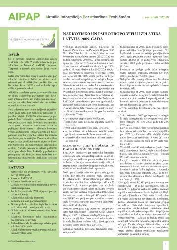 """""""Aktuāla informācija par atkarības problēmām (AIPAP)"""" Nr.1. 2010"""
