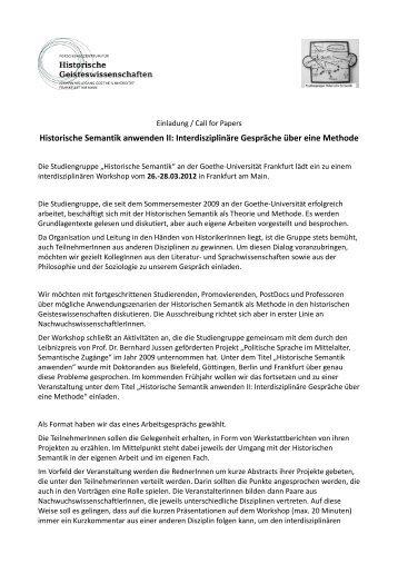 Einladung / Call for papers - Forschungszentrum für historische ...