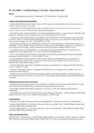 Dr. Falk Müller - Veröffentlichungen (Auswahl) – Stand Januar 2011