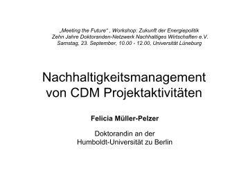Nachhaltigkeitsmanagement von CDM Projektaktivitäten