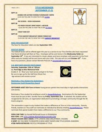 TITUS MESSENGER SEPTEMBER 17-21