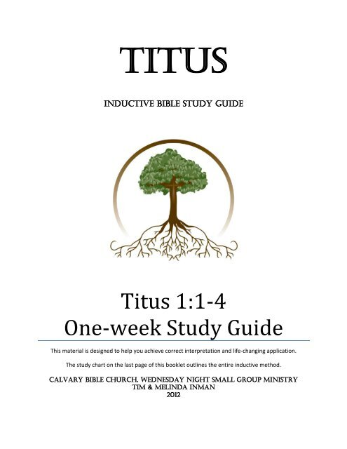 Titus 1:1-4 One-week Study Guide - Calvary Bible Church