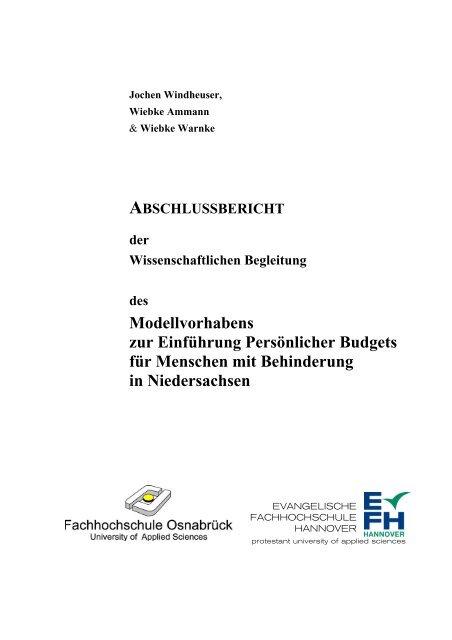 """Abschlussbericht """"Persönliches Budget"""" - Behindertenbeauftragter ..."""
