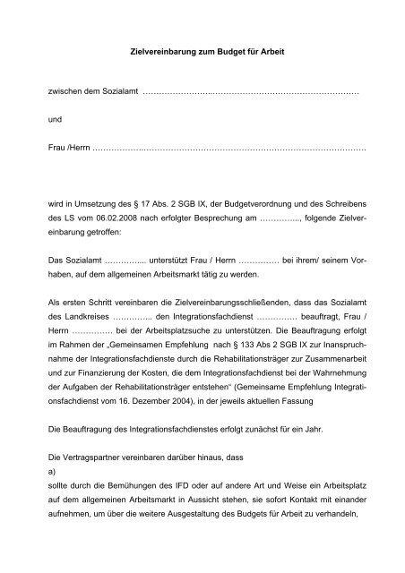 Entwurf einer Zielvereinbarung