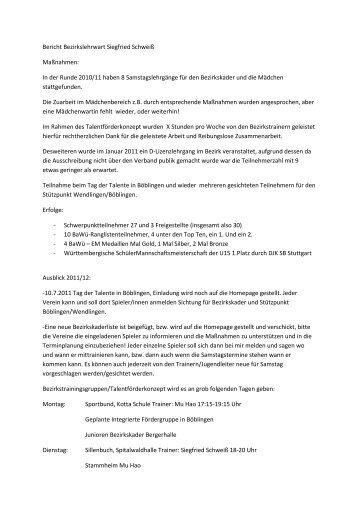 Bericht Bezirkslehrwart Siegfried Schweiß - TTVWH Bezirk Stuttgart