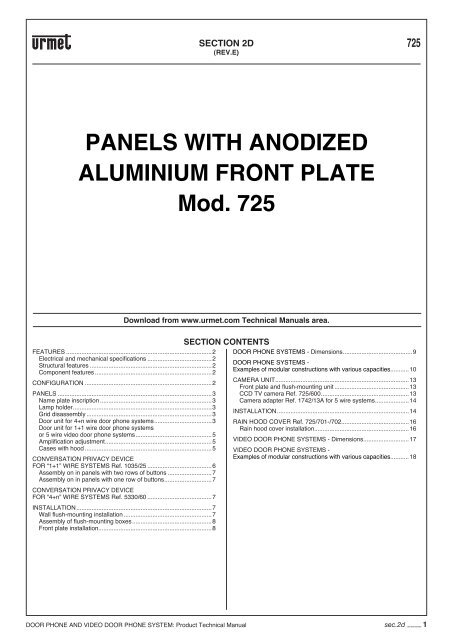 PANELS WITH ANODIZED ALUMINIUM FRONT PLATE Mod  725
