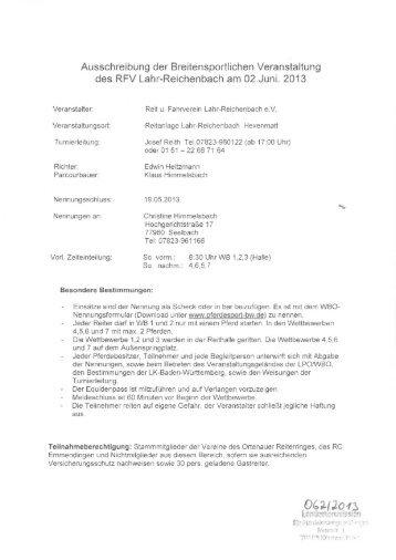 Ausschreibung der Breitensportlichen Veranstaltung des RFV Lahr ...