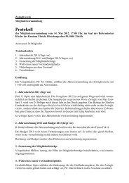 Protokoll der Mitgliederversammlung vom 14. Mai 2012 - Zwingliverein