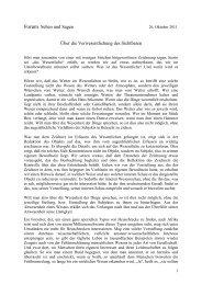 Über die Verwesentlichung des Sichtbaren - Hansjörg Wagner