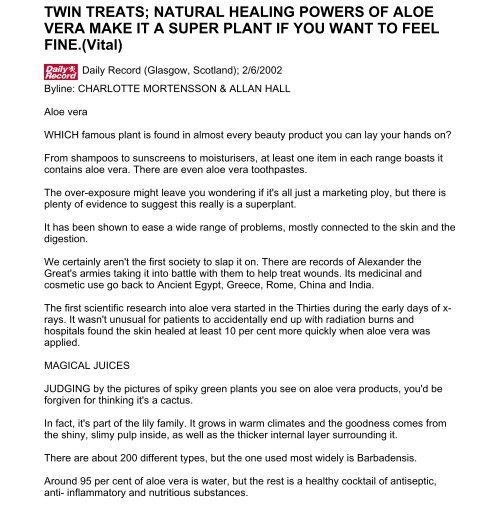 Twin Treats Natural Healing Powers Of Aloe Vera Desert Harvest
