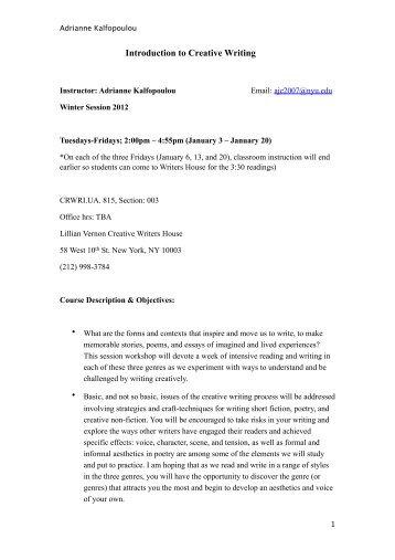 Program    Courses KI Group Nyu creative writing undergraduate