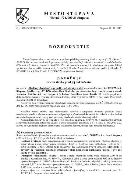 64896304e0df Rozhodnutie o povolenà zmeny stavby pre ... - Mesto Stupava