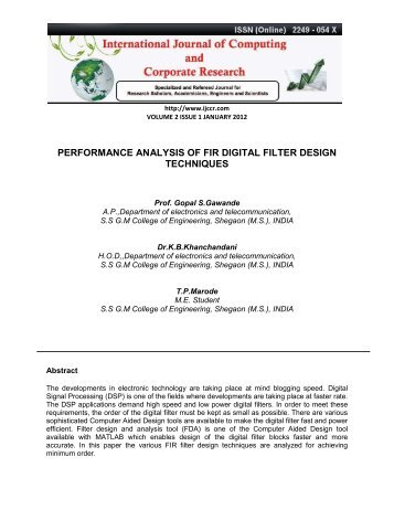 performance analysis of fir digital filter design techniques - Ijccr.com