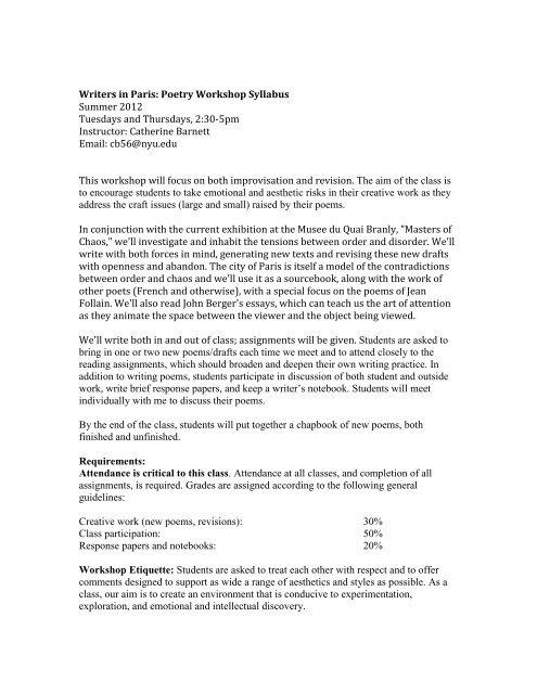 Creative writing nyu syllabus rate resume writing service