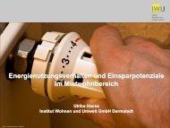 Energienutzungsverhalten und Einsparpotenziale im Mietwohnbereich