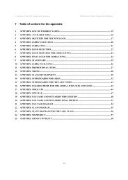 7 Table of content for the appendix