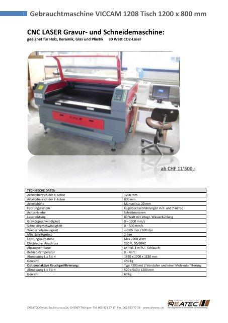 Gebrauchtmaschine VICCAM 1208 Tisch 1200 x ... - CNC Kunststoff