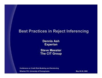 Best Practices in Reject Inferencing - University of Pennsylvania