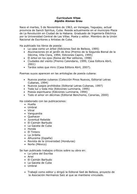 Curriculum Vitae Alpidio Alonso Grau Nace El Martes 5 De