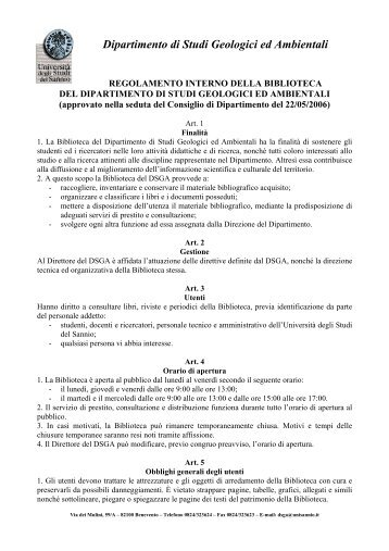 Regolamento Funzionamento Biblioteca DSGA - Università del Sannio