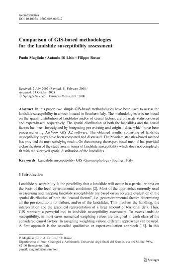 Comparison of GIS-based methodologies for the landslide ...