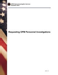 Requesting OPM Personnel Investigations - Office of Personnel