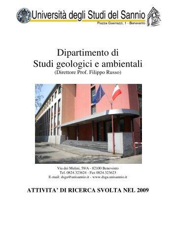 DI RICERCA SVOLTA NEL 2009 - Dipartimento di Studi Geologici e ...