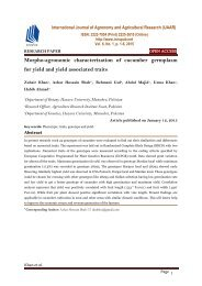 Morpho-agronomic characterization of cucumber germplasm for yield and yield associated traits