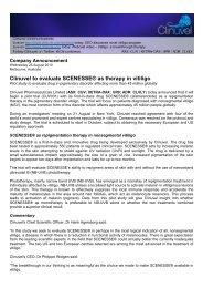 Program announced August 2010 - Clinuvel Pharmaceuticals