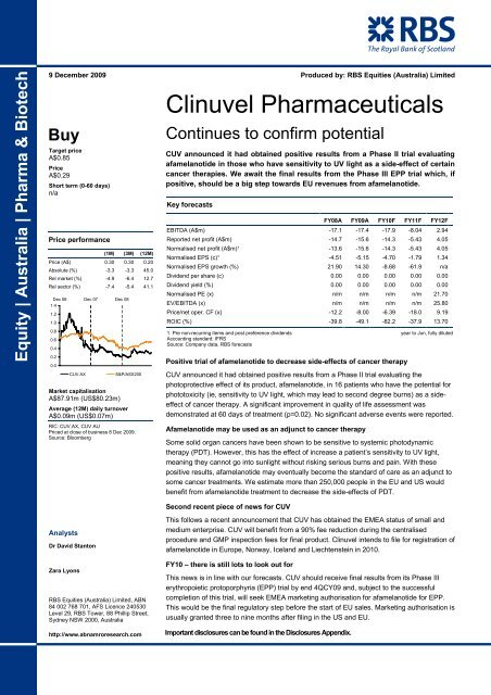 Rbs Update Clinuvel Pharmaceuticals