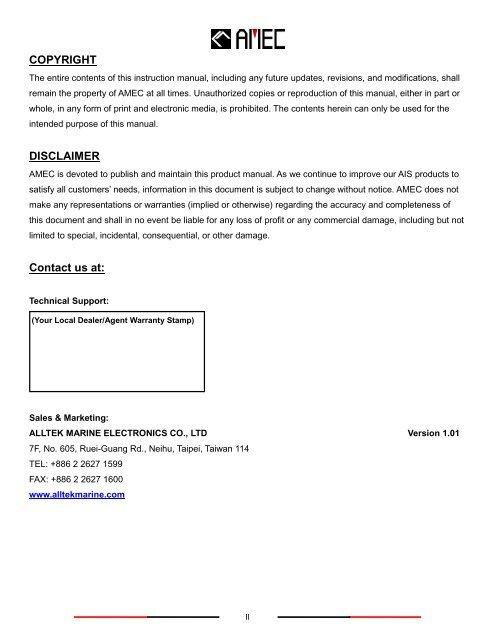 AMEC CAMINO-101 Class B AIS Viewer manual - Milltech Marine