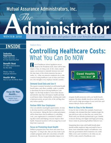 Controlling Healthcare Costs - Mutual Assurance Administrators