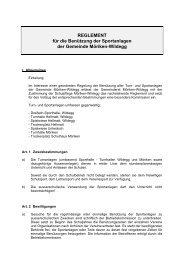 REGLEMENT für die Benützung der Sportanlagen der Gemeinde ...