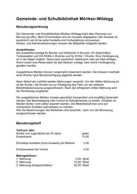Benutzungsordnung. - Gemeinde Möriken-Wildegg