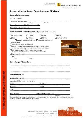 Reservationsanfrage Gemeindesaal Möriken