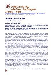 Comunicato stampa - Comitato NO TAV - Torino